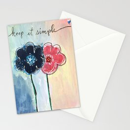 Happy Simple Flowers Stationery Cards