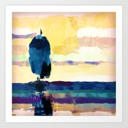 Sailing in the evening Art Print