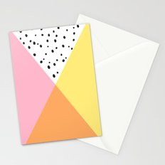 Pink and Yellow Polka Dots Stationery Cards