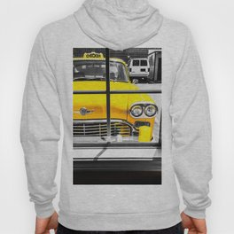 vintage yellow taxi car with black and white background Hoody