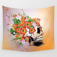 sugar skull Wall Tapestries featuring Sugar skull by nicky2342