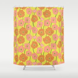 Icelandic Poppies Springtime Floral on Yellow Shower Curtain