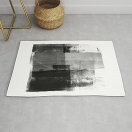 Black and White Minimalist Industrial Abstract Rug