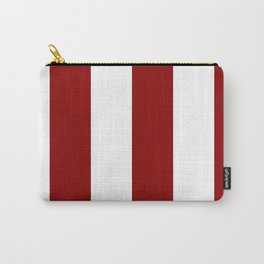 Wide Vertical Stripes - White and Dark Red Carry-All Pouch