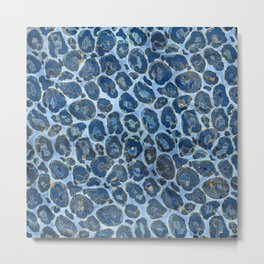 Leopard Faux Fur Texture Blue marble Metal Print