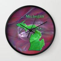 michigan Wall Clocks featuring Michigan Map by Roger Wedegis