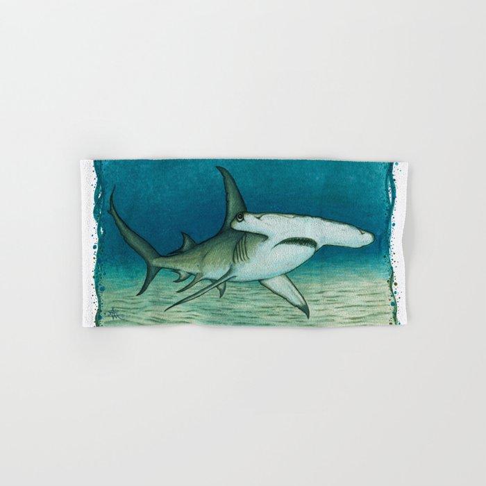 """Great Hammerhead Shark"" by Amber Marine ~ Watercolor Painting, (Copyright 2016) Hand & Bath Towel"