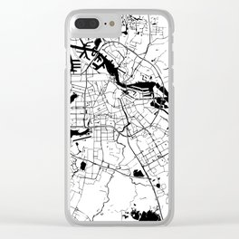 Amsterdam White on Black Street Map Clear iPhone Case