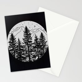 Night Time in the Forest Stationery Cards