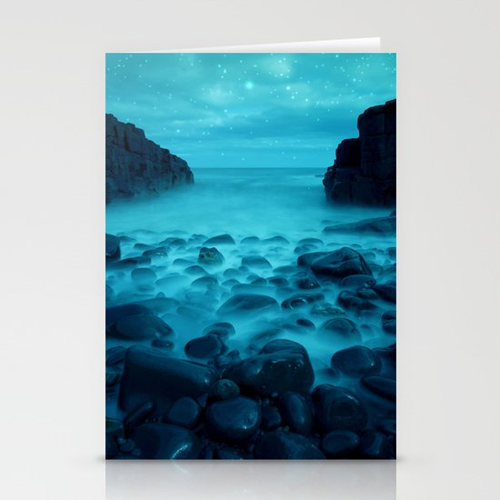 Blue Rocks Ocean and Stars Stationery Cards