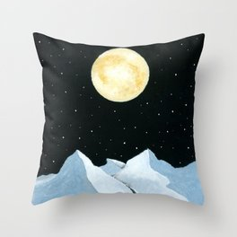 Full Moon over the snowy hills Throw Pillow