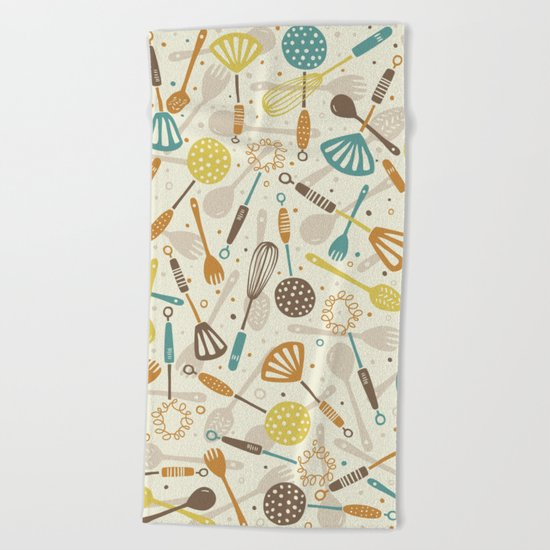 Kitchen Utensils Beach Towel