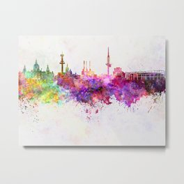 Hannover skyline in watercolor background Metal Print