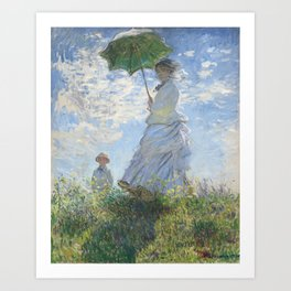 Vintage Woman with a Parasol, Madame Monet and Her Son (1875) by Claude Monet. Art Print
