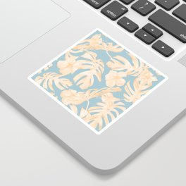 Island Vacation Hibiscus Palm Coral Sky Blue Sticker