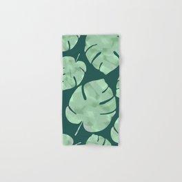 Palm Leaves - Teal background Hand & Bath Towel