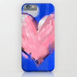 Big brushstrokes soft pink heart iPhone Case