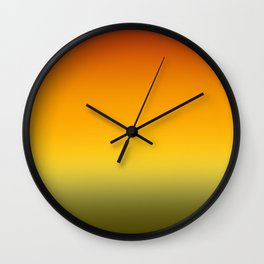 Orange And Green Flower Ombre Wall Clock