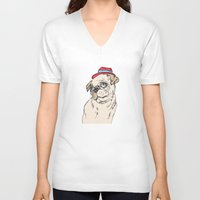pug V-neck T-shirts featuring Pug by Madmi
