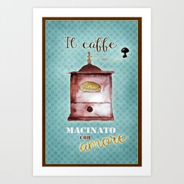 Vintage Coffee Poster: Ground with Love Art Print