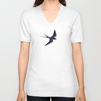 swallow V-neck T-shirts featuring Barn Swallow by Pork-Pie Brand by Luc Latulippe