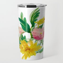 Watercolor Bouquet of Yellow and Purple Peonies Travel Mug