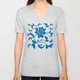 Oriental Flower - Snorkel Blue Unisex V-Neck