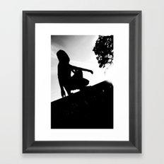 girl on a ledge Framed Art Print