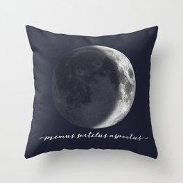Waxing Crescent Moon on Navy Latin Throw Pillow