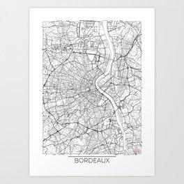 Bordeaux Map White Art Print