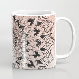 Boho black watercolor floral mandala rose gold glitter ombre pastel blush pink Coffee Mug