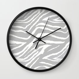 ZEBRA GRAY AND WHITE ANIMAL PRINT 2019 Wall Clock