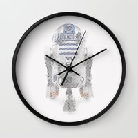 r2d2 Wall Clocks featuring R2D2 by Sig Vicious