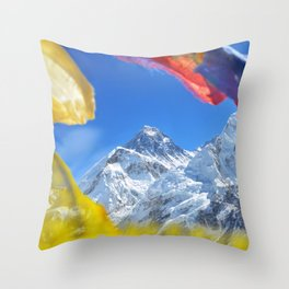 Summit of mount Everest or Chomolungma - highest mountain in the world, view from Kala Patthar,Nepal Throw Pillow