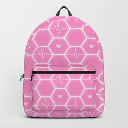 Love is everywhere at the Valentine's Day - Futuristic Heartbeat Hexagonal Tile Pattern & Pink Hearts 7  Backpack
