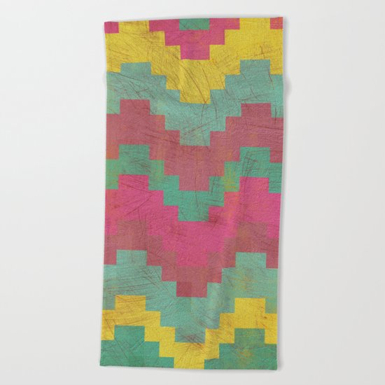 Aztec Vintage Pattern 01 Beach Towel