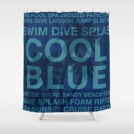 Summer Words Poolside and Palm Tree Hawaiian Graphic Design Shower Curtain