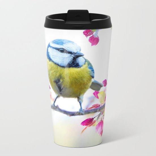 Romantic Flower Blossom with blue tit spring bird Metal Travel Mug