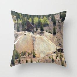 Headframe of the Famous and Rich Yankee Girl Mine Throw Pillow