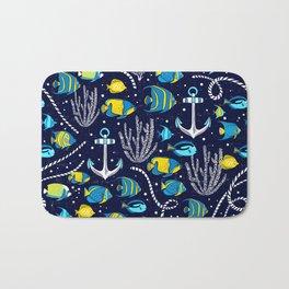 Deep Blue Sea Navy Bath Mat