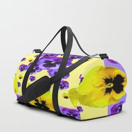 YELLOW & PURPLE PANSY FLOWERS FLOATING ON LILAC Duffle Bag