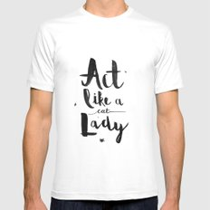 Act Like A Cat Lady White MEDIUM Mens Fitted Tee