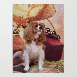 Ribbons, Bells And Cavalier King Charles Spaniel Poster