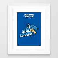 monster hunter Framed Art Prints featuring Monster Hunter All Stars - Blue Rippers by Bleached ink