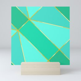 Teal Geometric Pattern With Gold Lines Mini Art Print