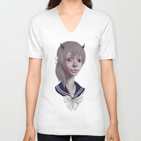girly V-neck T-shirts featuring GIRLY by nijikon