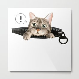 Kitty In The Pocket Metal Print