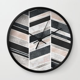 Shimmering Chevron Pattern - white pearl marble, silver and black Wall Clock