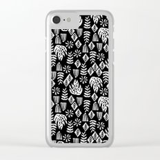 Tropical linocut tribal island pattern scandinavian art print black and white minimal Clear iPhone Case