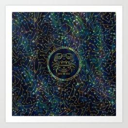Cancer Zodiac Gold Abalone on Constellation Art Print